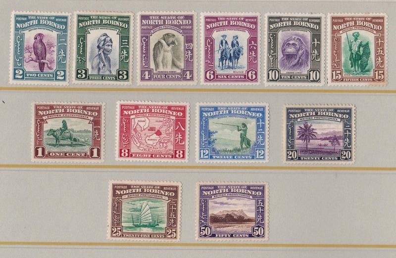 NORTH BORNEO 1939  S G 303 - 314  PART SET TO  50 CENTS  M H & M N H CAT £320