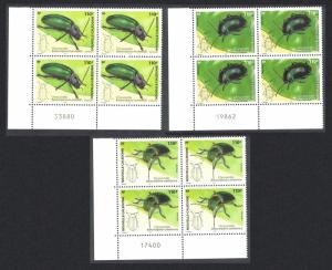 New Caledonia Leaf Beetles Chrysomelidae Insects 3v Bottom Left Blocks of 4