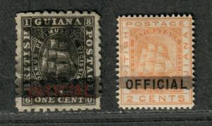 British Guiana Sc#89, 91 M+U/H/F-VF, Partial Set, Cv. $540