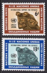 United Nations  New York  #216-217  1971  MNH refugees sculpture