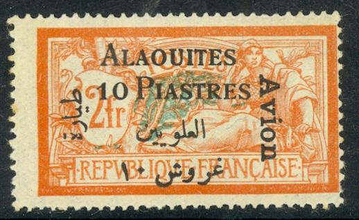 ALAOUITES 1925 10Piastres on 2Fr AIRMAIL Issue Scott No. C4 Type 1 MH