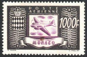 MONACO-1946 Airplanes Air Post 1000F Sg 323c LIGHTLY MOUNTED MINT V40606