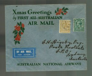 1932 West Norwood Australia to Sydney Christmas Greetings ANA First Flight Cover