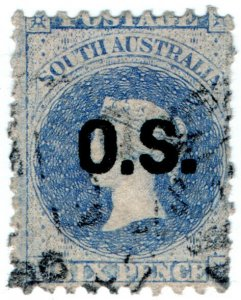 (I.B) Australia Postal : South Australia 6d OS (SG O4)