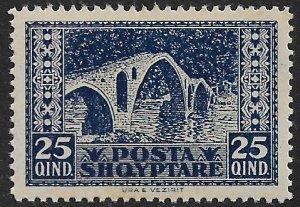 ALBANIA 1923 25q BRIDGE AT VEZIRIT Pictorial Sc 150 MNH