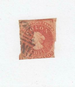 CHILE (MK5691) # 3  F-USED  5c 1854  CHRISTOPHER COLUMBUS /PALE RED BROWN CV $68