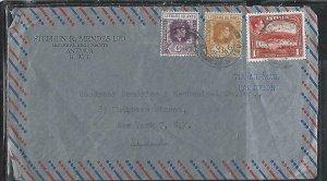 LEEWARD ISLANDS (P2808BB)  1946  KGVI  6D+3D+ ANTIGUA 1D A/M ANTIGUA TO USA