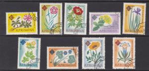 Romania # 1459-1467, Flowers, Used CTO, 1/2 Cat.