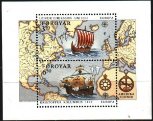 Faroe Islands. 1992. bl5. Sailboat, Discovery of America by the Vikings, Euro...