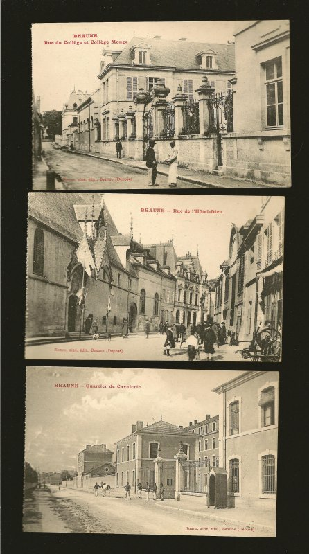 France Lot of 3 Early 20th Century Beaune Street Scene Unposted Postcards