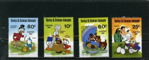 TURKS & CAICOS ISLANDS 1981 WALT DISNEY EASTER SET OF 4 STAMPS MNH