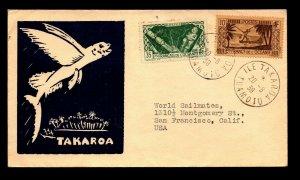 French Oceania 1939 Takaroa Cacheted Cover / Small Top Pinhole - L11059