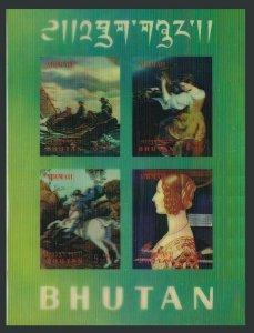 Bhutan 109Gi sheet,plastic overlay,MNH. Paintings 1970.Homer,Raphael,Ghirlandaio