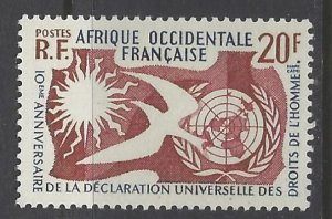 French West Africa, Scott #85; 20fr Human Rights Issue, MH