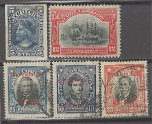 COLLECTION LOT # 3146 CHILE 5 MH/USED STAMPS 1900+ CV+$13
