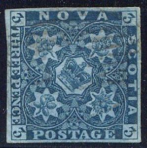 NOVA SCOTIA #3 Used VF - 1851 3p Dark Blue