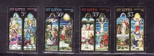 St. Kitts-Sc#86-9- id7-Unused NH set-Christmas-Stained-glass-1981