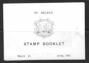 ST.HELENA SGSB4 1981 £1 BOOKLET CONTAINING 25p 591/2 IN BLOCKS OF 4  MNH