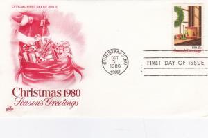 United States 1980 Christmas FDC Unadressed VGC