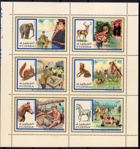 Fujeira 1972 SCOUTS AND WILD ANIMALS Sheet Perforated Mint (NH)