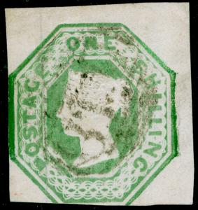 SG55, 1s green, CUT SQUARE, USED. Cat £1000.