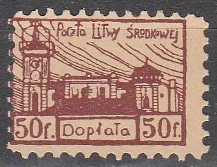 Central Lithuania #J1 Perf  F-VF Unused   (S6488)