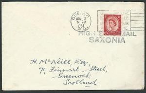 CANADA 1954 GB 2½d on cover Quebec pmk & HIGH SEAS MAIL / SAXONIA..........42428