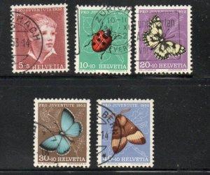 Switzerland Sc B217-21 1952 Pro Juventute Butterflies stamp set used