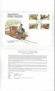 Isle of Man 358A-D  Railways & Tramways Definitives 1988  Official FDC