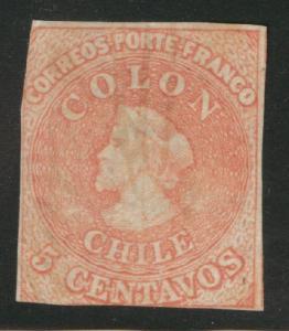 Chile Scott 9 used 1858 stamp