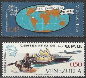 Venezuela  1087-8  MNH  UPU Centenary