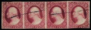 Scott #11 VF - 3c Dull Red - Washington - Used - Strip of 4 - Small Cuts