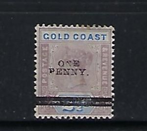 GOLD COAST SCOTT #36 1901 SURCHARGE 1P ON 2 1/2P (LILAC/ULTRA)) -MINT HINGED