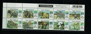 New Zealand: 1994, Stamp Month, Wild Animals,  MNH horizontal strip.