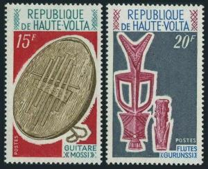 Burkina Faso 238-239,MNH.Mi 326-327. Musical instruments 1971.Flutes,Drums.