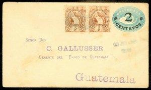 EDW1949SELL : GUATEMALA Scarce 1899 usage of Uprated pair on Postal Stationery.