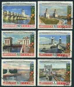 Russia 1666-1671,CTO. Mi 1669-1674. Volgo-Don Canal, 1953.Dams, Lighthouse, Ship