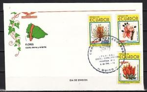 Ecuador, Scott cat. 1111-1113. Indigenous Flowers issue. First day cover.