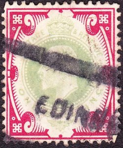 GREAT BRITAIN 1902 KEVII 1/- Dull Green & Carmine SG257 Used