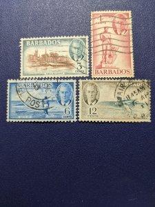 Barbados 218-20, 222 F-VF, CV $9