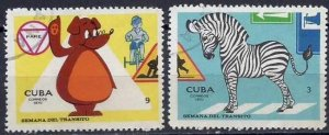 CUBA Sc# 1568-1569  ROAD SAFETY WEEK Zebra  CPL SET of 2  1970  used / cto