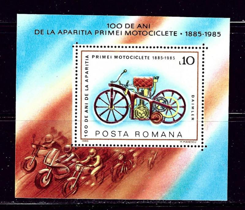 Romania 3300 MNH 1985 Motorcycle souvenir sheet