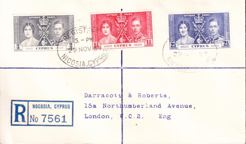 Cyprus 1937 Coronation Issue Registered Cover to London