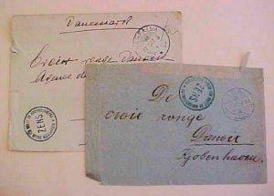 HUNGARY  POW RED CROSS B/S DENMARK 1917 2 DIFF. CENSORED