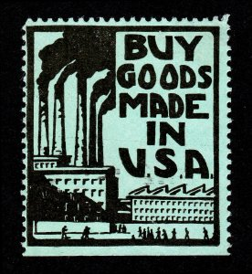 VINTAGE POSTER STAMP BUY GOODS MADE IN USA