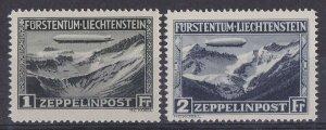 Liechtenstein 1931 Zeppelin set 1Fr & 2Fr MNH**. Mi 114-15 cat €550 .