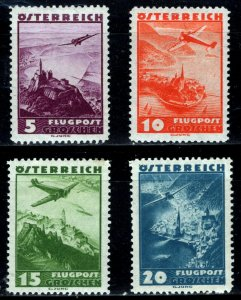 Austria -  Scott #C32 to 35 - Airplane over Gussing Castle  - 1935 - MVVLH
