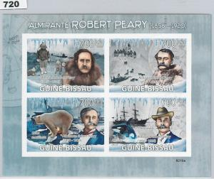 GUINEA BISSAU - ERROR, 2009 IMPERF SHEET: R. PEARY, EXPLORER, NORTH POLE, BEARS