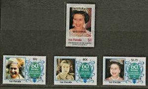 NUI-TUVALU 1986 60TH BIRTHDAY QUEEN ELIZABETH II, SET OVERPRINTED SPECIMEN PERF