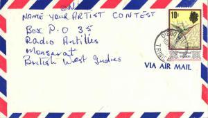 Trinidad 10c QEII Green Hermit 1969 Diego Martin, Trinidad Airmail to Montser...